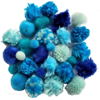 Blue Textured Woolly Pom Poms